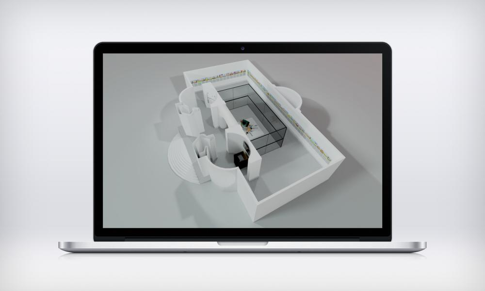 3D kiállítási pavilon vizualizáció
